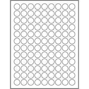 "0.728"" circle (108up) DIY FREEZER-Grade/Durable Sheet Labels, LC-0072-108"
