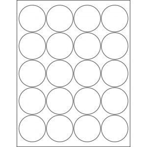 "2"" circle (20up) DIY FREEZER-Grade/Durable Sheet Labels, LC-0200-020"